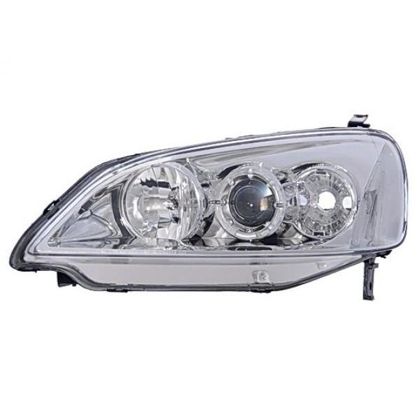 Headlights Honda Civic 01-.. Angel Eyes Chrome