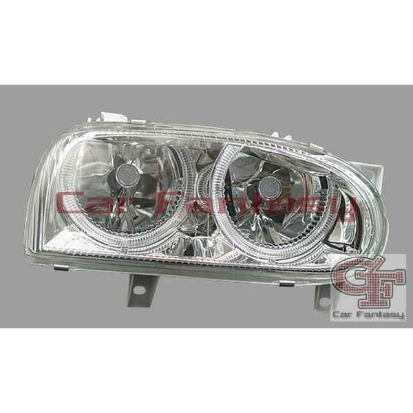 Headlights VW Golf III Angel Eyes Chrome