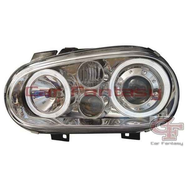 Headlights VW Golf IV Angel Eyes Chrome