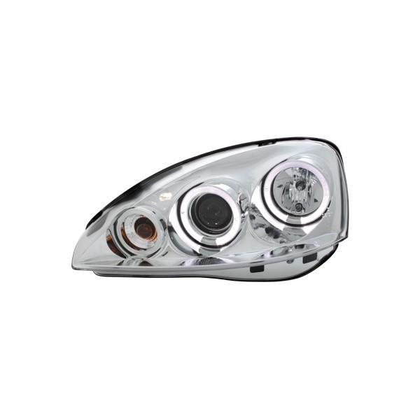 Headlights Opel Corsa C Angel Eyes Chrome