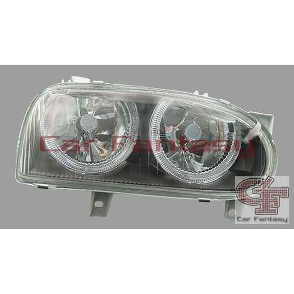 Headlights VW Golf III Angel Eyes Black