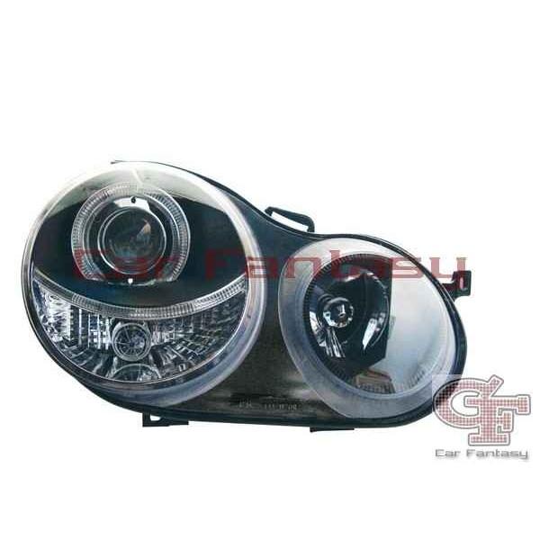 Headlights VW Polo 9N 01-05 Angel Eyes Black