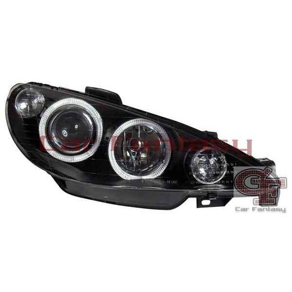 Headlights Peugeot 206 Angel Eyes Black