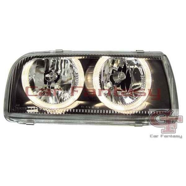 Headlights VW Vento Angel Eyes Black