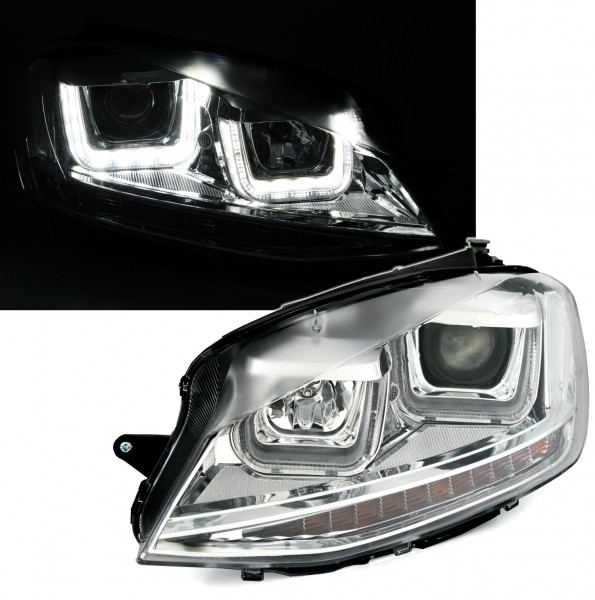 Headlights 3d Led Drl Volkswagen Golf 7 Vii 2012 2017 Silver R Line Led Flowing Dynamic Sequential Turning Lights