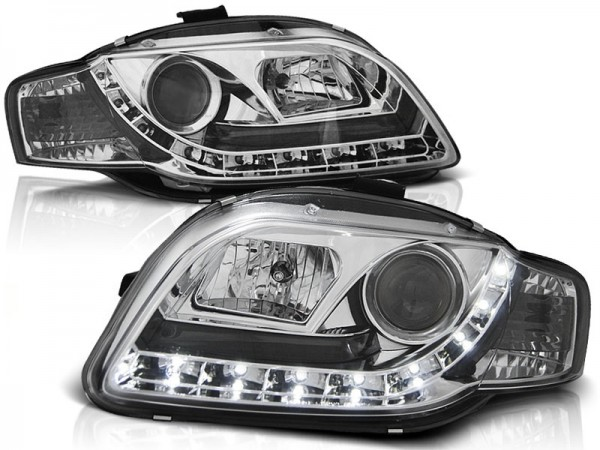 Headlights Audi A4 B7 04-08 Devil Eyes Dlite Chrome
