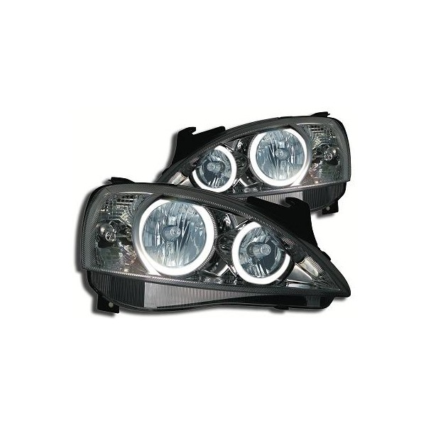 Headlights Opel Corsa C Angel Eyes Black