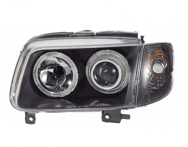 Headlights VW Polo 6N2 Angel Eyes Black SPECIAL PRICE</s