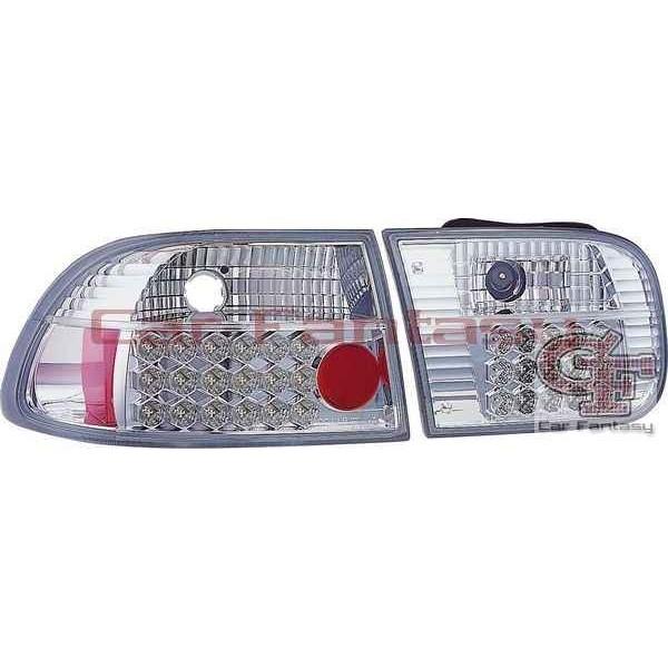 Taillights Honda Civic 92-95 3/5 door LED Chrome