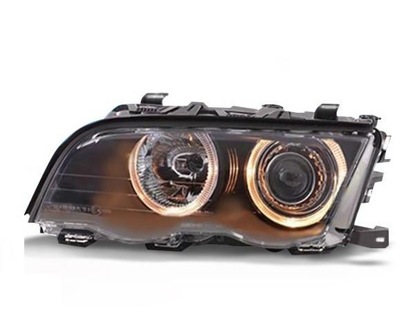 Headlights BMW E46 sedan Angel Eyes Black